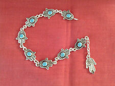Moroccan Arabic Berber Jewelry:Hamza 'Hand of Fatima' Bracelet Turquoise Centres
