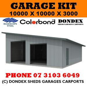 DONDEX SHEDS Large Garage Shed Kit 10x10x3.0 Colorbond Roof, Walls & Doors