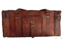 Men's Brown Vintage Genuine Leather Cowhide Travel Luggage Duffle Gym Bag