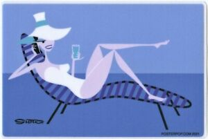 Chaise Lounge Girl STICKER Decal Shag Josh Agle SH118