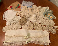 Antique Trim Vintage HUGE LOT Crochet Lace  Bits of Antique Pcs.