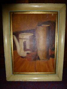Vintage Retro 70s 1970s still life framed genuine oil painting on board ceramics