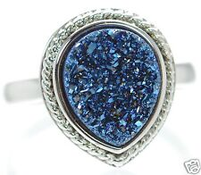 Solid 925 Sterling Silver Blue Pear Shape Druzy Cocktail Ring Size 8 '