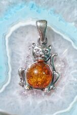 Pendant Cat Amber Stone D Zodiac Signs Bull Tear of the Gods Silver 925