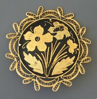 Vintage Damascene  flower  Filigree brooch in enamel on metal
