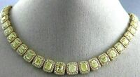 ESTATE 35CT WHITE & FANCY YELLOW DIAMOND 14K YELLOW GOLD OVER ETERNITY NECKLACE