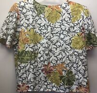 Tess Womens Size M 100% Silk Tropical Floral Print Short Sleeve Shirt Blouse