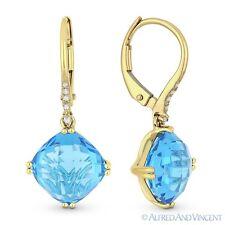 6.74 ct Cushion Cut Blue Topaz & Diamond 14k Yellow Gold Dangling Drop Earrings