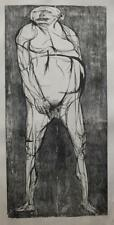 "MONUMENTAL WOODBLOCK PRINT BY LEONARD BASKIN ""HAMAN"" 1955 EDITION OF 10"