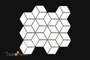 Rhomboid Diamond White Gloss Porcelain Mosaic Tile Sheet 266x305
