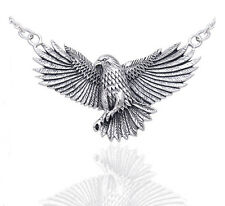 Detailed Sterling Silver Native American Indian Large Eagle Necklace 18""