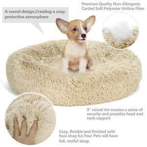AHUIGOYCE Dog Cat Bed Comfortable Donut Cuddler Round Dog Bed for Large Medium Small Dogs Faux Fur Washable Dog Cat Cushion Bed