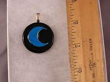 Blue Crescent Moon on Black Circle Fused Glass Pendant GP47