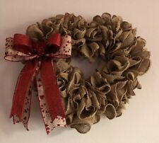 "15"" x 17"" Handmade Valentines Heart Shaped Burlap Wreath With Bow"