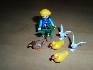 Playmobil children girl plant 3 duck 2 bird hat farm
