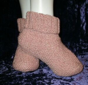 2 x Pairs Hand Knitted Ladies Bed socks Beige/Sparkle Pink