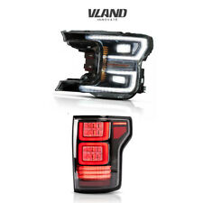 VLAND LED Black Headlight + LED Tail Lights Fits For Ford F150 F-150 2018-2020