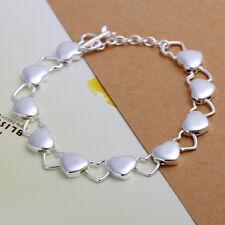 Women's Unisex 925 Sterling Silver Link Heart Charm Love Bracelet L60