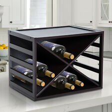 HOMCOM Wine Rack Stackable Cube 16 Bottle Tabletop Drink Wood Dark Brown