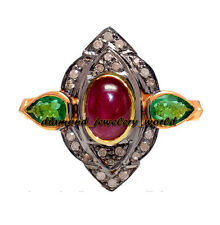 Victorian Estate 0.85cts Pave Rose Cut Diamond Jewelry Emerald Ruby Silver Ring