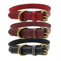 Dog Pet Genuine Cow Leather Collar Puppy Cat Adjustable Buckle Neck Strap