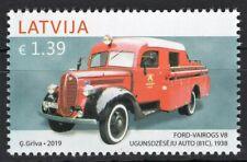 LATVIA 2019 LATVIJA FORD VAIROGS V8 81C 1938 AUTOBUV VESTURE FIREFIGHT STAMP MNH