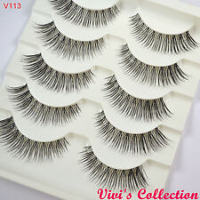 Multipack 5 Natural Black False Eyelashes Strip Eye Lashes UK Seller - Vivis 113