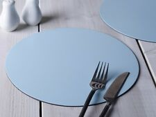 Set of 4 PASTEL BLUE ROUND Leatherboard PLACEMATS