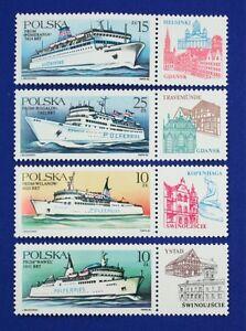 Z74 POLAND 1986 stamp set of 4 Ships Mint NH