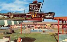 Roswell New Mexico birds eye view Royal Motel and pool vintage pc Z16409