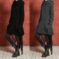 Vintage Femme Chaud Manteau Manche Longue Sweat-shirt Zipper Poche Veste Plus