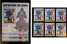 BENIN 1999 HIPPISME CHEVAUX HORSES Mi 1223 /8 1228 +BF BLOC SHEET 55 RARE MNH **
