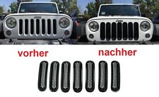 2007-2016 Jeep Wrangler JK 7pc Grill Schwarz Tuning Front Gitter-Grill