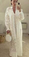 BNWT H&M blanco en encaje inglés Maxi Vestido bloggers agotado Kaftan Medio Boho