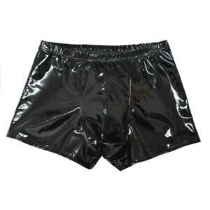 Homme PU Cuir Short Boxer Slip Faux Latex Slip sous-Vêtement