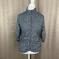 Calvin Klein Performance Women Athletic Jacket Size XL Space Dye Black Ruched