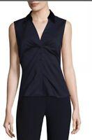 ELIE TAHARI WOMEN'S BLACK VICHI V-NECK RUSHED SLEEVELESS BLOUSE SIZE XL $148.00