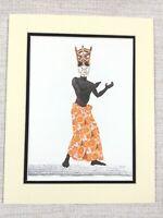 1965 Vintage Print Nigerian Traditional Dress Ibibio people Tribal Dancer Mask
