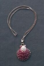 "STERLING SILVER PINK SEASHELL FRAMED PENDANT & CHAIN 18""  SOLID 925"