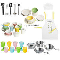 Kitchen Toys Set Accessories Kids Apron Gift Plates Bowls Cups Dinnerset Utensil