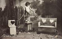 1908 VINTAGE Set of 5/6 THE COURSE of TRUE LOVE POSTCARDS - MISSING #1 FAIR-GOOD