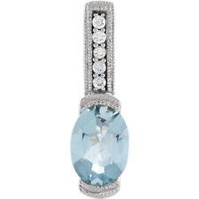 Aguamarina & Diamante 45.7cm Collar en 14k ORO BLANCO
