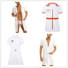 Adult Men Nurse Costume Halloween Doctor Uniform Zipper Coat Cosplay Fancy Dress
