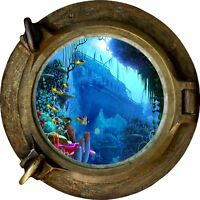Huge 3D Porthole Shipwreck under sea View Wall Stickers Film Decal 427