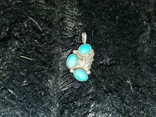 3 Turquoise Stones Pendant Vintage Sterling Silver &