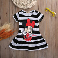 Cartoon Baby Girl Summer Dress Infant Striped Mini Dresses Clothes Kids Clothing