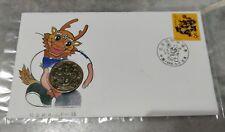 龙年 China 1988 Lunar Zodiac Dragon Stamp FDC inlaid Dragon bronze medal Coin