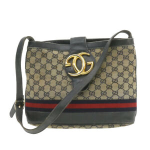 GUCCI Sherry Line GG Canvas Shoulder Bag Beige Red Navy Canvas rd1513
