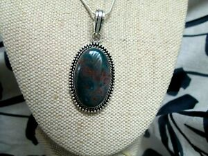 ~ Natural Bloodstone Gemstone Pendant & Silver Plated Chain ~ Necklace ~ (A28)