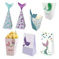 12Pcs Mermaid Theme Food Gift Box Candy Bag Party Hanging Decoration BabyHot AY